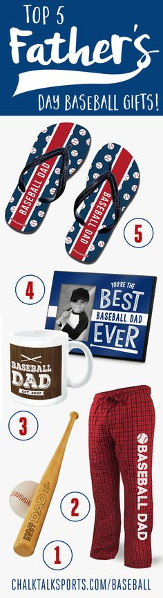 Top 5 Father's Day Baseball Gifts!! Perfect for the Dad who coaches or just likes to play!! Many items to choose from!!