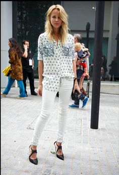 Womens fashion, street style. Elin Kling wearing paisley shirt