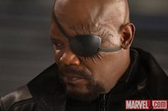Nick Fury has been off the grid since we last saw him in Avengers: Age of Ultron, but Samuel L. Jackson's one-eyed spymaster will be returning to the Marvel Cinematic Universe in Captain Marv… Avengers Film, Avengers Images, Avengers 2012, Hollywood Actress Photos, Hollywood Model, Hollywood Celebrities, Marvel Comics, Films Marvel, Marvel Characters