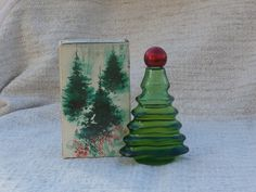 Vintage Avon Christmas Tree Bottle w Imperial Garden Cologne, Great Prop or Figurine, Touch of Christmas Decor