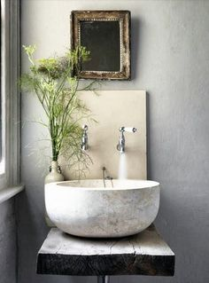 Small Bathroom Ideas // unique idea for a small bathroom or powder room. Loving the vessel sink with wall mounted faucets. The antique mirror and rustic wood countertop add so much character // Bathroom Inspiration, Interior Inspiration, Design Inspiration, Design Ideas, Design Blogs, Design Projects, Tadelakt, Natural Home Decor, Cool Ideas