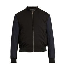 Paul Smith Contrast-sleeve wool-blend bomber jacket ($1,095) ❤ liked on Polyvore featuring men's fashion, men's clothing, men's outerwear, men's jackets, navy, mens slim fit jacket, mens lightweight bomber jacket, mens lightweight jacket, mens navy bomber jacket and old navy mens jackets