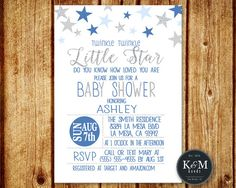 Twinkle Little Star Baby Shower Invitation / Boy by KandMGoods