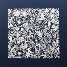 """Summer Indigo"" Original hand-cut papercut artwork: 16 inches square"