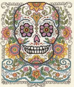 Sugar Skull From Imaginating - Cross Stitch Charts - Embroidery - Casa Cenina
