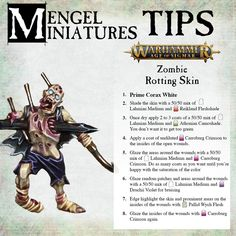 """""""A lot of people were asking me how I achieved the skin on one of my zombies I posted the other day. This is just one of the color variants I did, but is the most """"classic"""" zombie, so here's a quick tutorial! Painting Recipe, Painting Tips, Figure Painting, Painting Techniques, Warhammer Paint, Warhammer Aos, Warhammer Fantasy, Paint Charts, Tabletop"""
