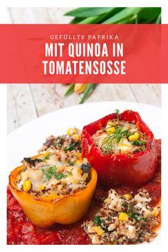 Vegetarisch gefüllte Paprika mit Quinoa in Tomatensoße, Low Carb, gesund, einfach und lecker !