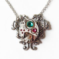 Mother's Day gift. EVANGELION :Steampunk Necklace /A Vintage Watch Movement Jewelry-Valentine's gift --gift for her-watch  necklace