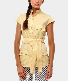 Take a look at this Yellow Portobello Button-Up by Almatrichi on #zulily today!