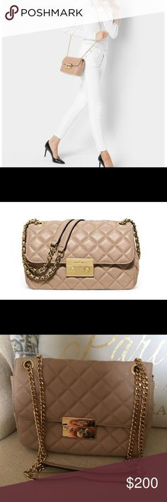 """Michael Kors Sloan Quilted Bag Color is called """"oyster."""" I used this bag a handful of times and it is in near perfect condition. The strap can be used as a crossbody or can be doubled up to make it a shoulder bag. Lots of handy pockets and credit card slots inside the bag. Latches closed with gold hardware. Michael Kors Bags Crossbody Bags"""