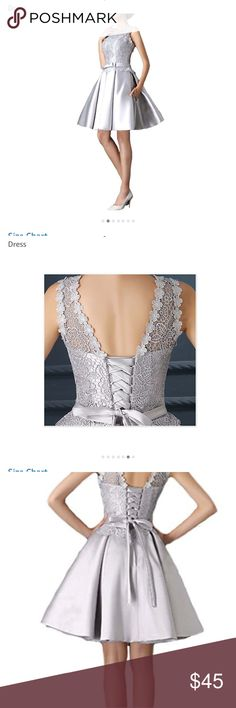 BEAUTIFUL silver Grey Dress Satin with lace, corset back, worn once, bottom was taken up a few inches fanho Dresses Prom