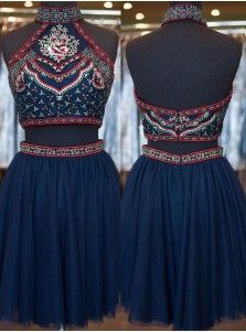 Fantastic Two-piece Navy Blue Homecoming Dress with Embrioidery