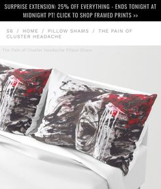 """Gefällt 60 Mal, 8 Kommentare - Arte Cluster 🎨 (@artecluster) auf Instagram: """"Recently Sold """"The Pain of Cluster Headache"""" Pillow Sham Set of 2 😍🆒Thank you! Today 25% Off…"""""""