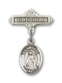 ReligiousObsession's Sterling Silver Baby Badge with St. Grace Charm and Godchild Badge Pin * For more information, visit image link. (This is an affiliate link) #Jewelry