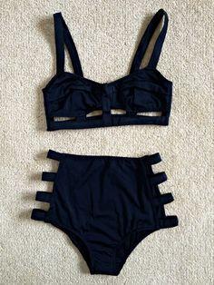 Item Type: Swimwear Material:Polyester Sleeve Length:Sleeveless Waist: High Waist Color: Black Size: S, M, L, XL