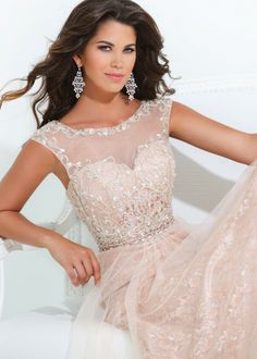 Tony Bowls Evenings TBE11415 Illusion Cap Sleeve Evening Gown