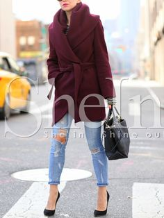 Shop Burgundy Long Sleeve Pockets Coat online. SheIn offers Burgundy Long Sleeve Pockets Coat & more to fit your fashionable needs.