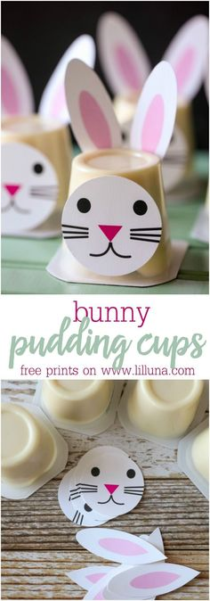 Easter Bunny Pudding Cups!! Such a cute idea for Easter parties and events. Get the free prints for these bunnies on http://lilluna.com