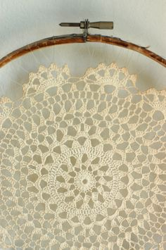 Vintage Crocheted Doily Wall Hanging. $19.00, via Etsy.
