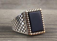925 K Sterling Silver Man Ring  Black Onyx Gemstone 8,75 US Size $18.45