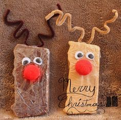 Reindeer Fudge (creative way to package homemade fudge for the holidays)