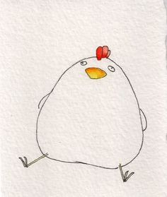 Look at this drawing of a fat chicken. You're welcome. Jednoduché Kresby, Kresby Tužkou, Akvarel, Kreslení Tváří, Malby, Skicování