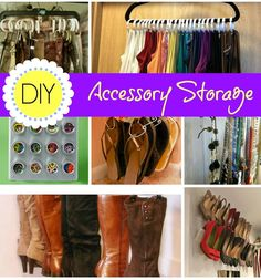 DIY Accessory Storage - Bitz & Giggles Some great space savers - storage ideas for scarves, shoes, jewelry, etc.