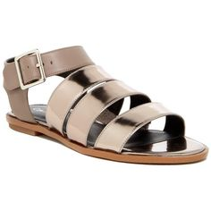 Calvin Klein Ulie Metal Box Sandal ($60) ❤ liked on Polyvore featuring shoes, sandals, ematite, ankle tie gladiator sandals, open toe flats, flats sandals, calvin klein sandals and ankle wrap flats
