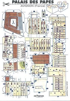 Paper model showing Palais des Papes, made in France by L'Instant Durable in Museum Number Avignon France, Museum Of Childhood, Toy Catalogs, Amiens, V & A Museum, Victoria And Albert Museum, Paper Models, Types Of Houses, Model Building