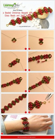 How to Make a Beaded Christmas Bracelet with Glass Beads and Seed Beads Seed Bead Bracelets Tutorials, Beaded Bracelets Tutorial, Beaded Bracelet Patterns, Jewelry Making Tutorials, Beading Tutorials, Beaded Necklace, Bead Earrings, Seed Bead Patterns, Beading Patterns