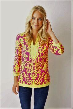 476fd69c2cb Sheridan French Calypso Pink Yellow Ikat Cotton Tunic Top 4 #SheridanFrench  #Tunic Cotton Tunic