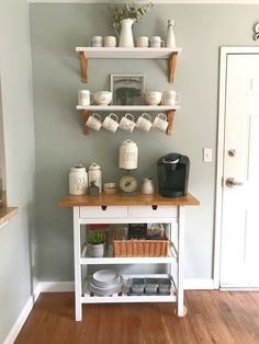 p/rae-dunn-forhoja-cart-coffee-bar - The world's most private search engine Coffee Bars In Kitchen, Coffee Bar Home, Home Coffee Stations, Coffe Bar, Coffee Bar Ideas, Coffee Carts, Bar Furniture, Kitchen Furniture, Kitchen Decor