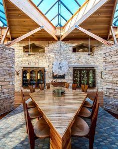 21. A massive geometric dining table