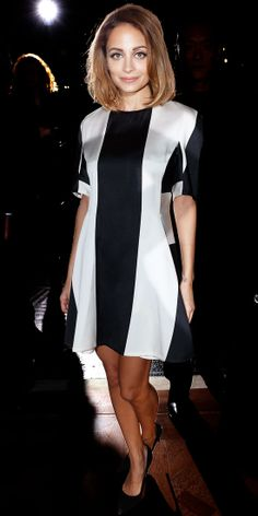 Richie looked mod in a black and white shift and complementary pumps at the Stella McCartney runway show.