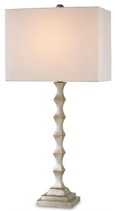 Currey & Company Lyndhurst Table Lamp on sale. This simple and contemporary table lamp is beautifully finished in Silver Leaf while the light shining through its Off White shade casts warmth into any interior space. Cool Lamps, Unique Lamps, Diy Lamps, Side Table Lamps, Nightstand Lamp, Contemporary Table Lamps, Furniture Inspiration, Lamp Design, Modern Lighting
