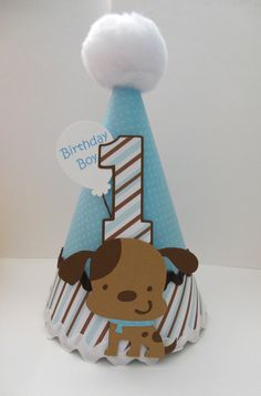 Puppy Dog Party Hat Blue and Brown by SandysSpecialtyShop, etsy - Tap the pin for the most adorable pawtastic fur baby apparel! You'll love the dog clothes and cat clothes! Dog Themed Parties, Puppy Birthday Parties, Puppy Party, Dog Birthday, Birthday Party Themes, Birthday Hats, Tea Parties, Elmo Party, Mickey Party