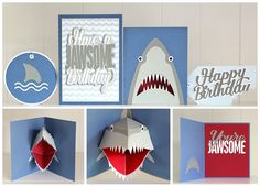 machine cut shark collection ... luv the pop-out shark head ... SVG cuts from Birds Cards ...