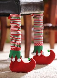 2013 Christmas chair legs cover set, Christmas red green clown -Make these for chairs! www.loveitsomuch.com