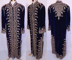 Vintage Adonis Lebanon Blue Velvet Gold Embroidered Boho Kaftan Robe Coat.