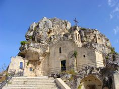 "The churches of Matera, like the homes, are carved into stone. (These types of churches are called ""rupestrian churches""). They date back to the Middle Ages; many have their interiors covered in vibrant frescoes."