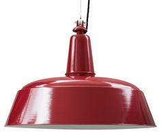 BERLIN Hängeleuchte im Industriedesign *Die Pendelleuchte mit 60 cm Durchmesser mit Stahlseil-Aufhängung (RAL 3003 Rubinrot)