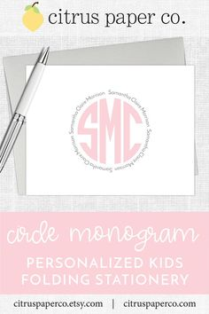 Personalized stationery, just for kids! Each set of folding note cards is printed on high-quality white cardstock, includes your choice of envelopes, and is packaged in a crystal clear box. Perfect for casual correspondence or thank you notes, these note cards make the perfect gift! \\ girls stationery \\ kids stationery \\ circle monogram \\ monogrammed \\ preppy Monogram Stationary, Monogrammed Stationery, Kids Stationery, Stationary Set, Custom Stationery, Preppy Monogram, Circle Monogram, Match Font, Personalized Thank You Cards