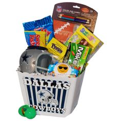 Easter basket for Cowboys fans filled with officially licensed Dallas Cowboys football gifts and candy.