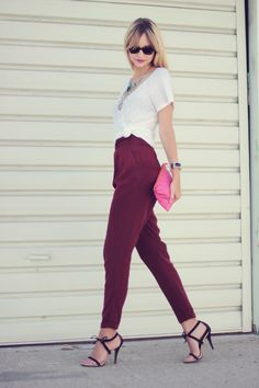Purple high wasted pants are the new but old but at the moment there the biggest thing
