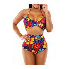 Rotita Printed High Waist Halter Two Piece Swimwear ($15) ❤ liked on Polyvore featuring swimwear, bikinis, multi color, highwaist swimwear, colorful bikini, 2 piece swimwear, high waisted swim wear y high rise bikini