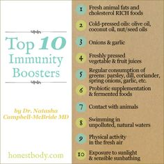 Want to sail through cold/flu season this year?  Here are the top 10 immunity boosters according to Dr. Natasha Campbell-McBride MD: http://www.thehealthyhomeeconomist.com/top-10-immune-system-boosters/
