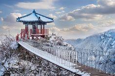 가로 겨울에는 Seoraksan 스톡 사진