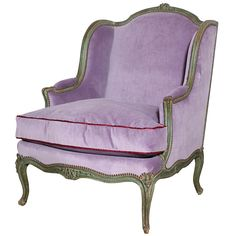 1stdibs | A Carved and Painted Large Louis XV Style Bergere, Mid 18th Century