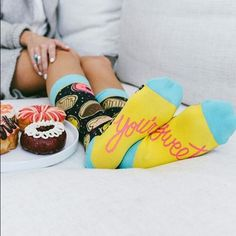 """Mmm Donuts socks Want that donut? Go ahead, you deserve it!! These delicious donuts socks are to die for! Everyone else will want a bite! Bottom prints """"you're sweet"""". 58% high quality woven cotton, 22% nylon, 16% polyester, 4% spandex Woven Pear Accessories Hosiery & Socks"""