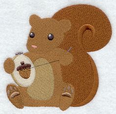 Crafty Autumn Embroidering Squirrel